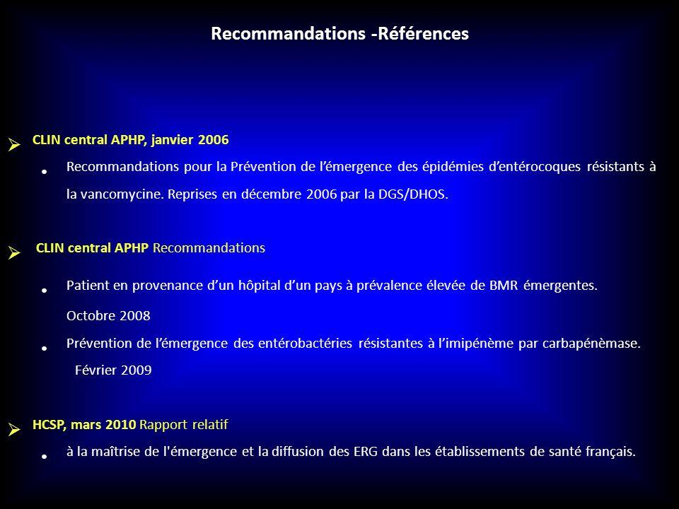 CLIN central APHP, janvier 2006 Recommandations pour la Prévention de lémergence des épidémies dentérocoques résistants à la vancomycine. Reprises en