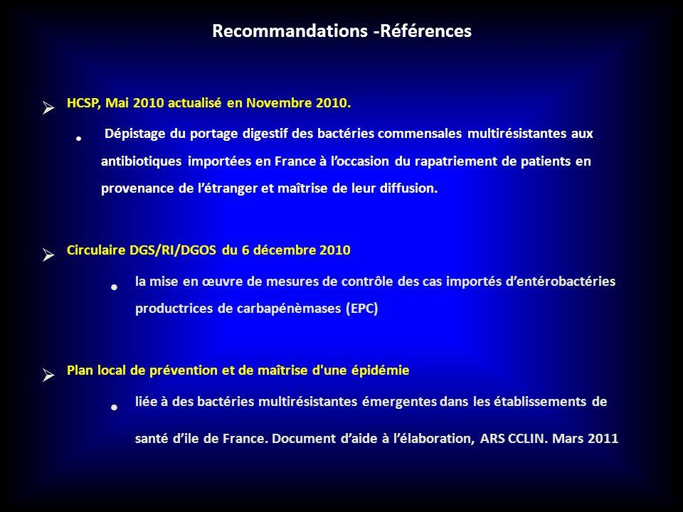 HCSP, Mai 2010 actualisé en Novembre 2010. Dépistage du portage digestif des bactéries commensales multirésistantes aux antibiotiques importées en Fra