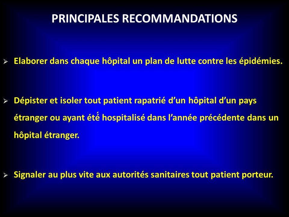 PRINCIPALES RECOMMANDATIONS Elaborer dans chaque hôpital un plan de lutte contre les épidémies. Dépister et isoler tout patient rapatrié dun hôpital