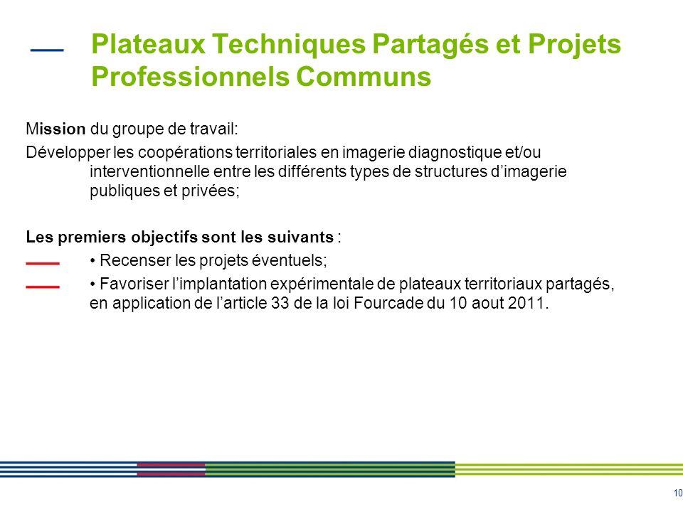10 Plateaux Techniques Partagés et Projets Professionnels Communs Mission du groupe de travail: Développer les coopérations territoriales en imagerie