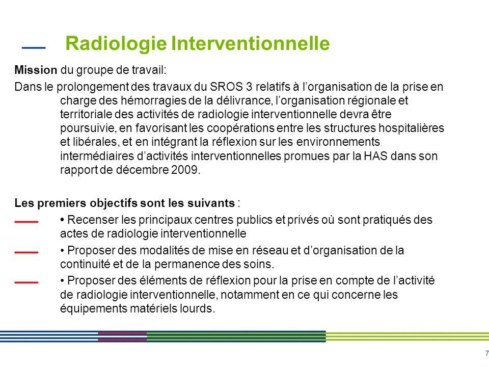 7 Radiologie Interventionnelle Mission du groupe de travail: Dans le prolongement des travaux du SROS 3 relatifs à lorganisation de la prise en charge