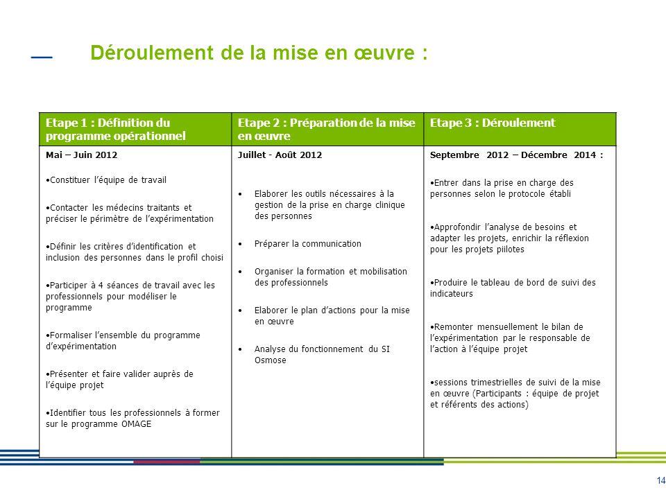 14 Déroulement de la mise en œuvre : Etape 1 : Définition du programme opérationnel Etape 2 : Préparation de la mise en œuvre Etape 3 : Déroulement Ma