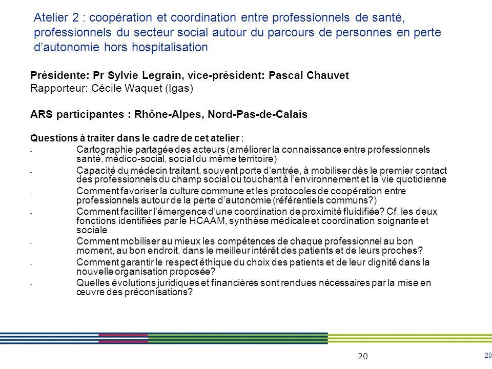 20 Présidente: Pr Sylvie Legrain, vice-président: Pascal Chauvet Rapporteur: Cécile Waquet (Igas) ARS participantes : Rhône-Alpes, Nord-Pas-de-Calais