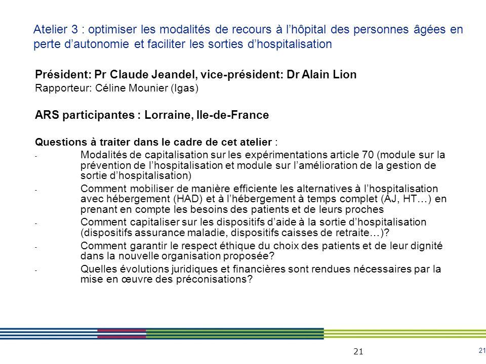 21 Président: Pr Claude Jeandel, vice-président: Dr Alain Lion Rapporteur: Céline Mounier (Igas) ARS participantes : Lorraine, Ile-de-France Questions