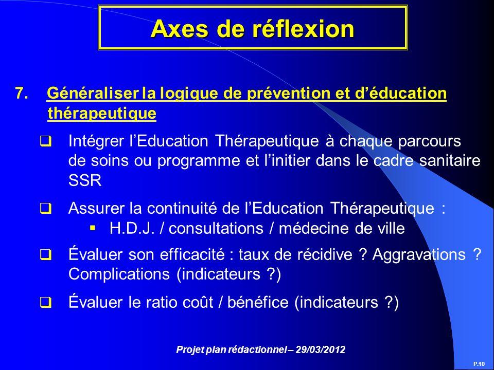 Projet plan rédactionnel – 29/03/2012 Axes de réflexion P.10 7. Généraliser la logique de prévention et déducation thérapeutique Intégrer lEducation T