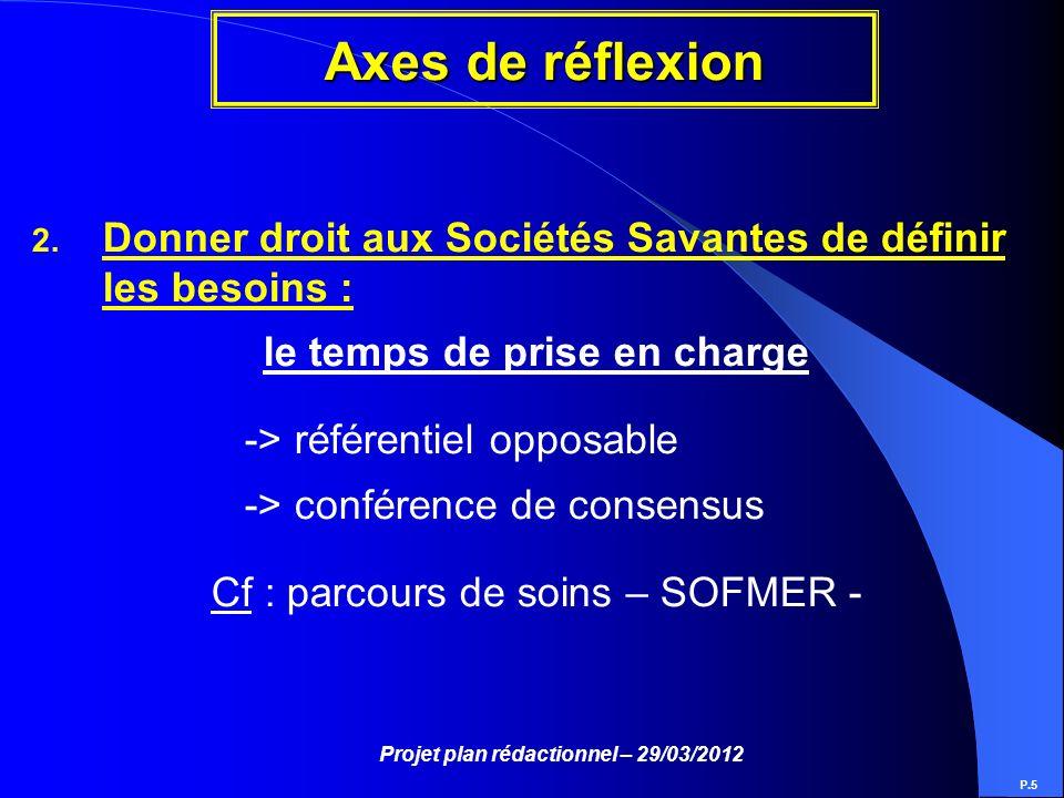Projet plan rédactionnel – 29/03/2012 Axes de réflexion P.5 2. Donner droit aux Sociétés Savantes de définir les besoins : le temps de prise en charge