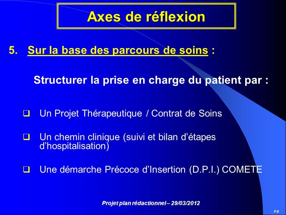 Projet plan rédactionnel – 29/03/2012 Axes de réflexion P.8 5.Sur la base des parcours de soins : Structurer la prise en charge du patient par : Un Pr