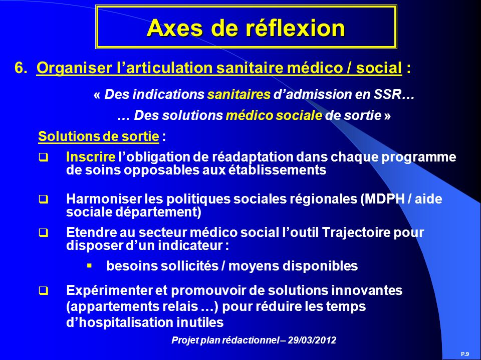 Projet plan rédactionnel – 29/03/2012 Axes de réflexion P.9 6. Organiser larticulation sanitaire médico / social : « Des indications sanitaires dadmis