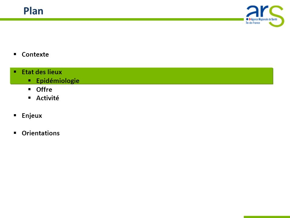 Ordre du jour Contexte Etat des lieux Epidémiologie Offre Activité Enjeux Orientations