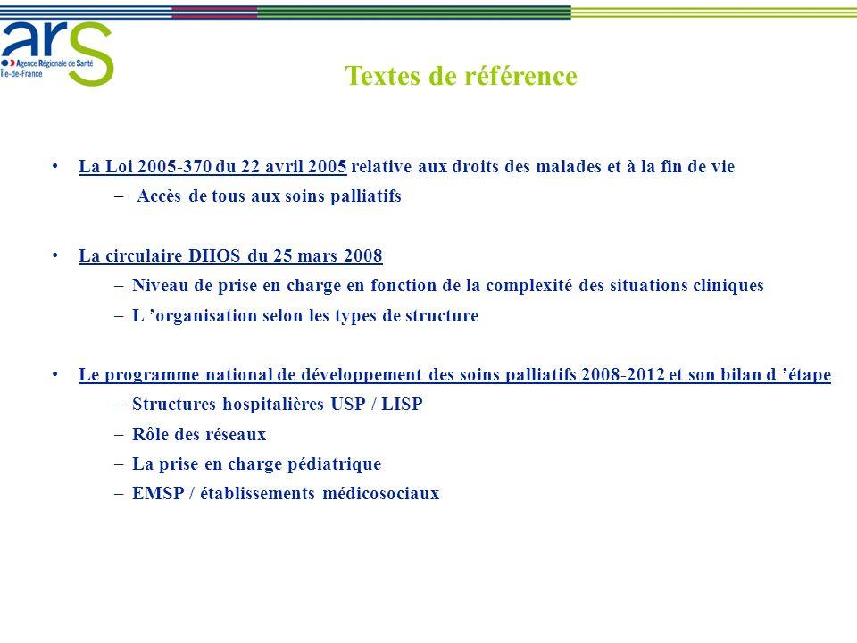 La Loi 2005-370 du 22 avril 2005 relative aux droits des malades et à la fin de vie – Accès de tous aux soins palliatifs La circulaire DHOS du 25 mars