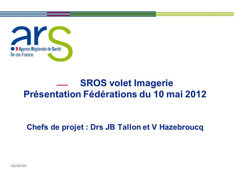XX/XX/XX SROS volet Imagerie Présentation Fédérations du 10 mai 2012 Chefs de projet : Drs JB Tallon et V Hazebroucq