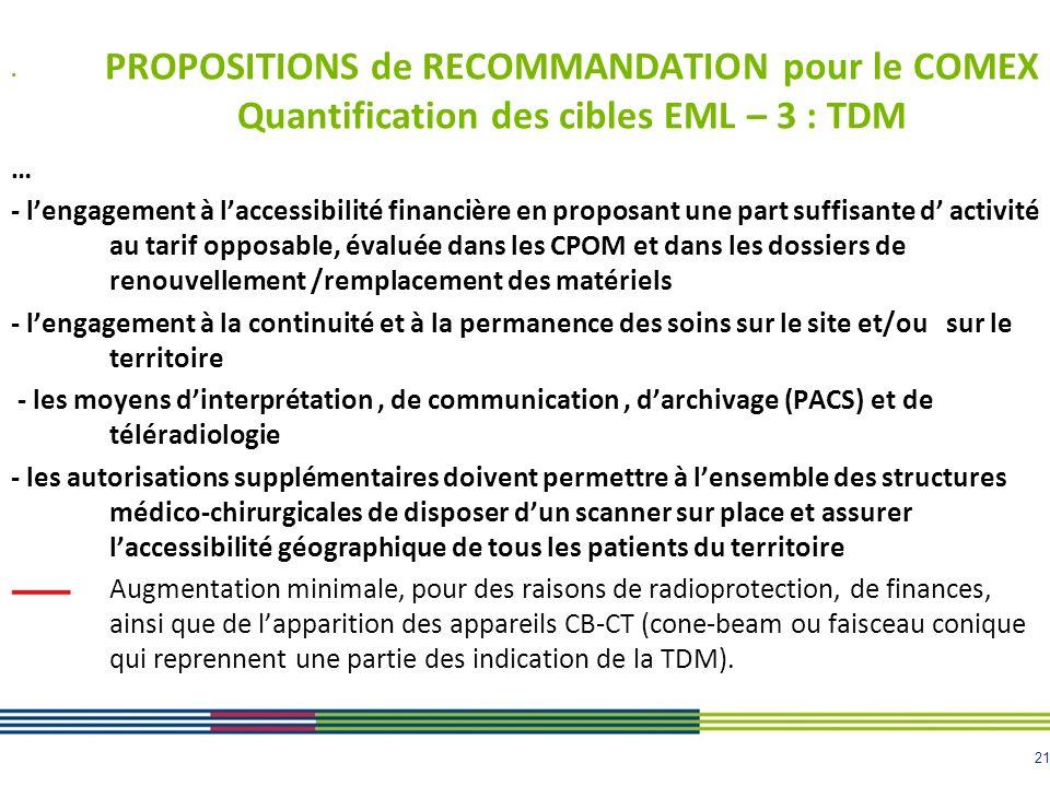21 PROPOSITIONS de RECOMMANDATION pour le COMEX Quantification des cibles EML – 3 : TDM … - lengagement à laccessibilité financière en proposant une p
