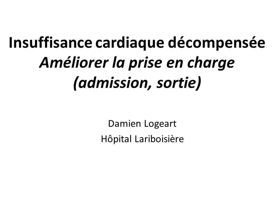 Insuffisance cardiaque décompensée Améliorer la prise en charge (admission, sortie) Damien Logeart Hôpital Lariboisière