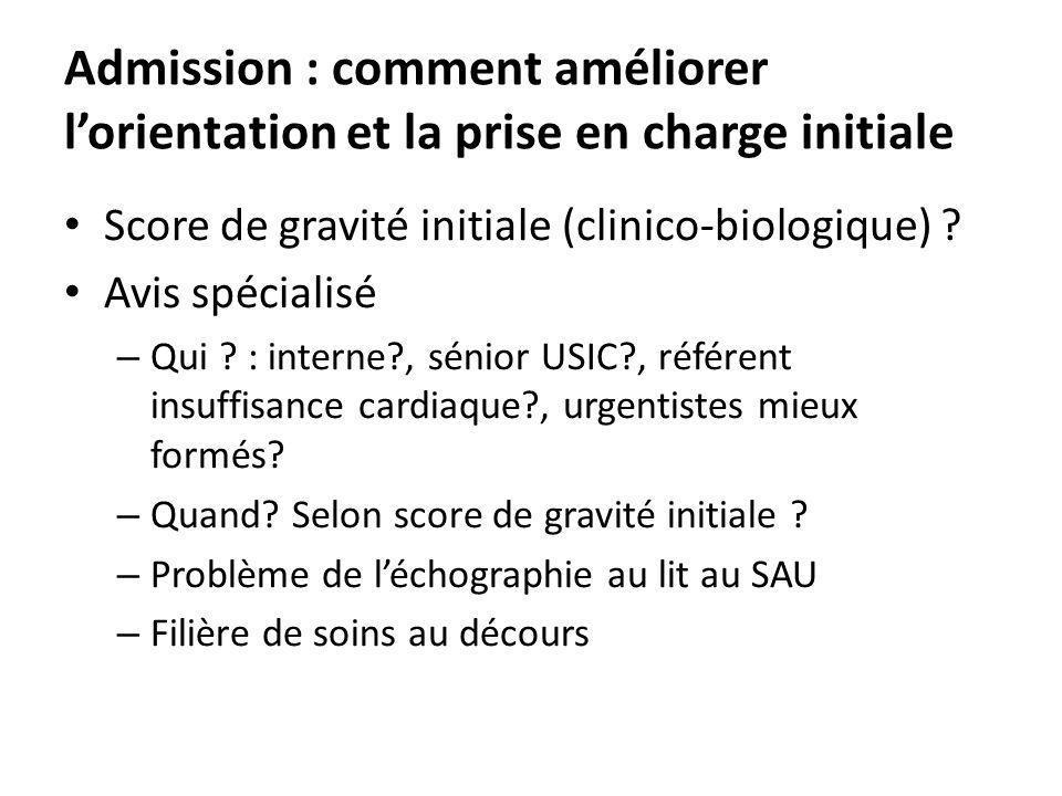 Admission : comment améliorer lorientation et la prise en charge initiale Score de gravité initiale (clinico-biologique) ? Avis spécialisé – Qui ? : i