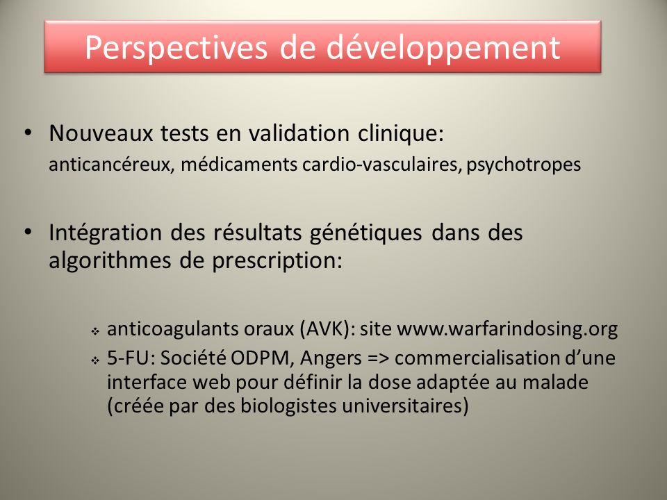Perspectives de développement Nouveaux tests en validation clinique: anticancéreux, médicaments cardio-vasculaires, psychotropes Intégration des résul