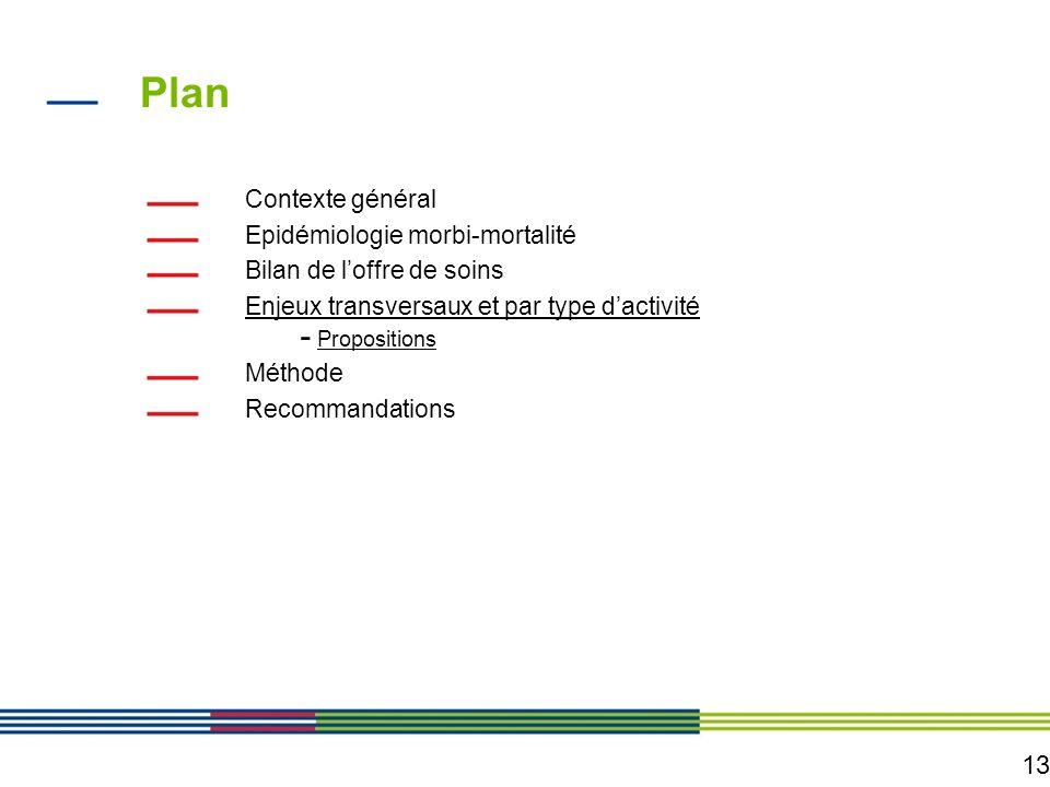 13 Plan Contexte général Epidémiologie morbi-mortalité Bilan de loffre de soins Enjeux transversaux et par type dactivité - Propositions Méthode Recom