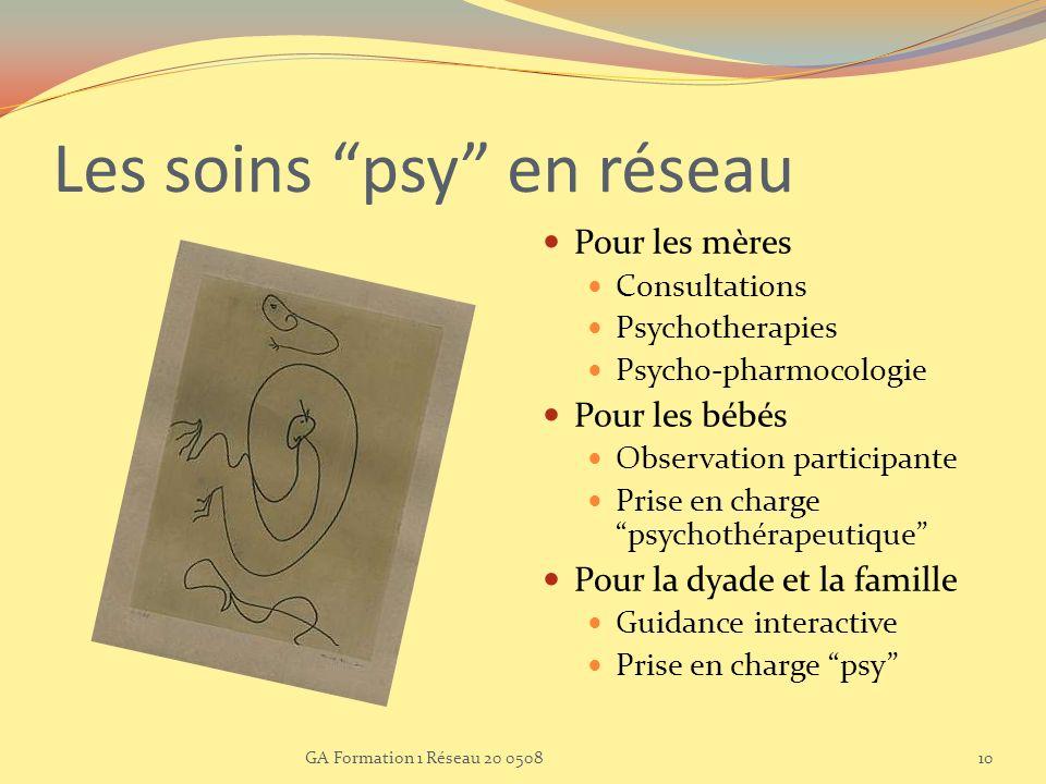 Les soins psy en réseau Pour les mères Consultations Psychotherapies Psycho-pharmocologie Pour les bébés Observation participante Prise en charge psyc
