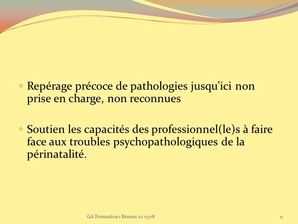 Repérage précoce de pathologies jusquici non prise en charge, non reconnues Soutien les capacités des professionnel(le)s à faire face aux troubles psy