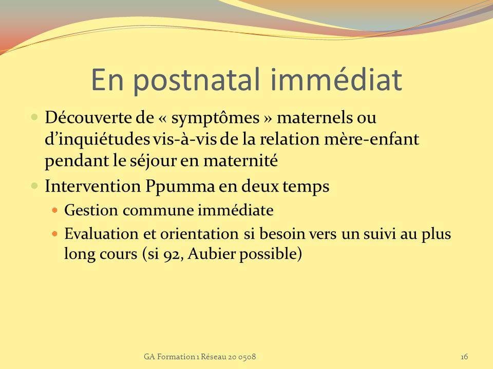 En postnatal immédiat Découverte de « symptômes » maternels ou dinquiétudes vis-à-vis de la relation mère-enfant pendant le séjour en maternité Interv