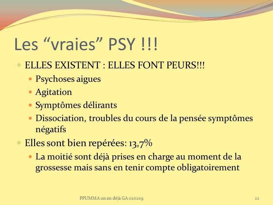 Les vraies PSY !!! ELLES EXISTENT : ELLES FONT PEURS!!! Psychoses aigues Agitation Symptômes délirants Dissociation, troubles du cours de la pensée sy