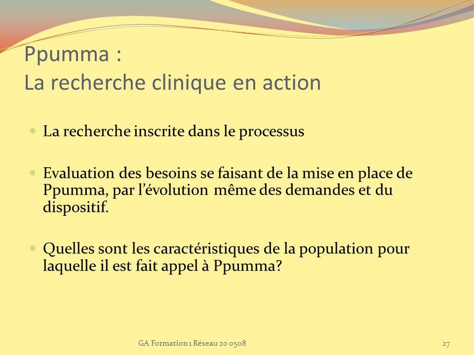 GA Formation 1 Réseau 20 050827 Ppumma : La recherche clinique en action La recherche inscrite dans le processus Evaluation des besoins se faisant de