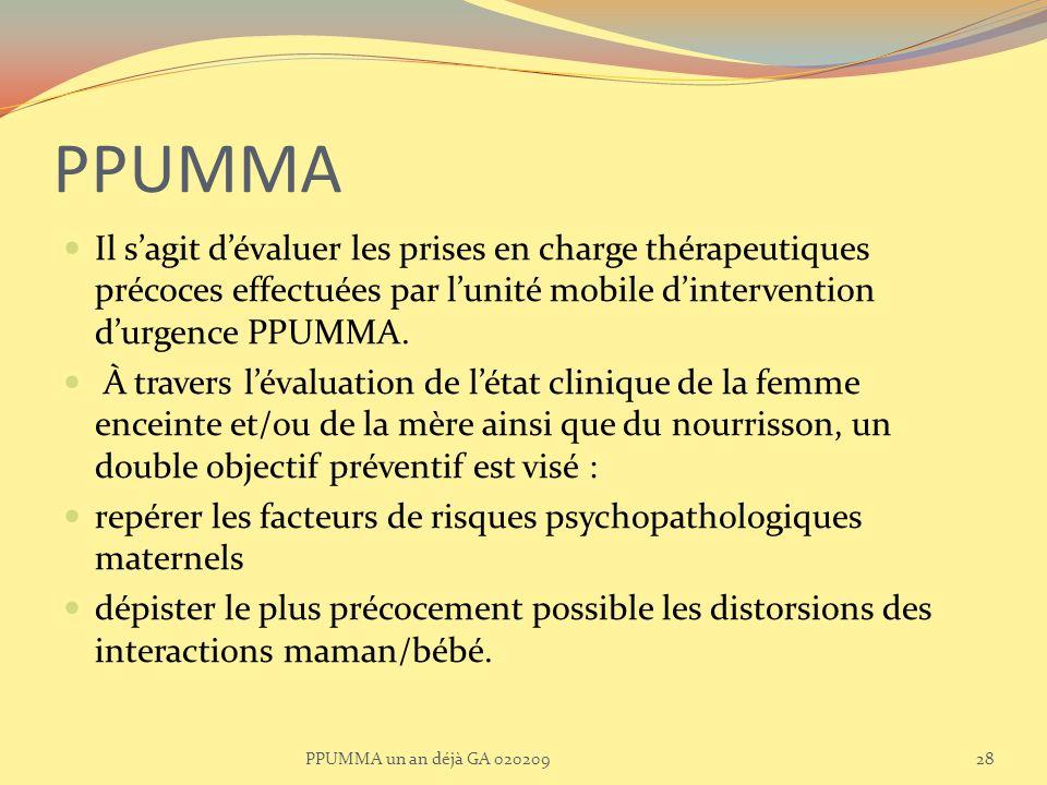 PPUMMA Il sagit dévaluer les prises en charge thérapeutiques précoces effectuées par lunité mobile dintervention durgence PPUMMA. À travers lévaluatio