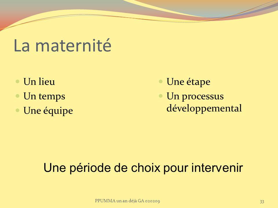 La maternité Un lieu Un temps Une équipe Une étape Un processus développemental Une période de choix pour intervenir 33PPUMMA un an déjà GA 020209