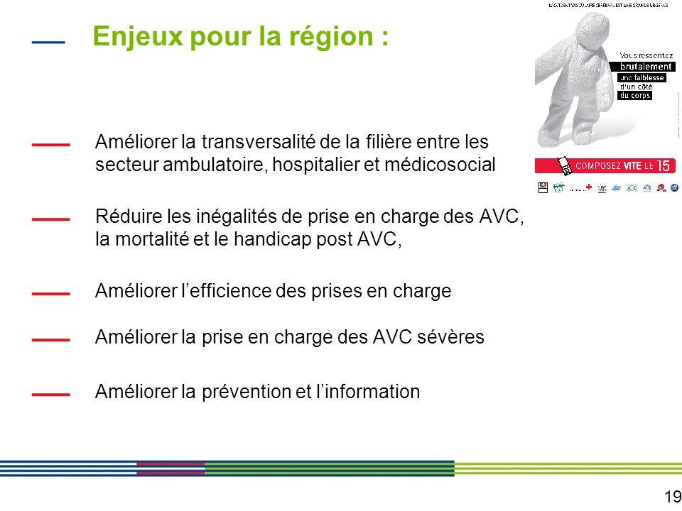 19 Enjeux pour la région : Améliorer la transversalité de la filière entre les secteur ambulatoire, hospitalier et médicosocial Réduire les inégalités
