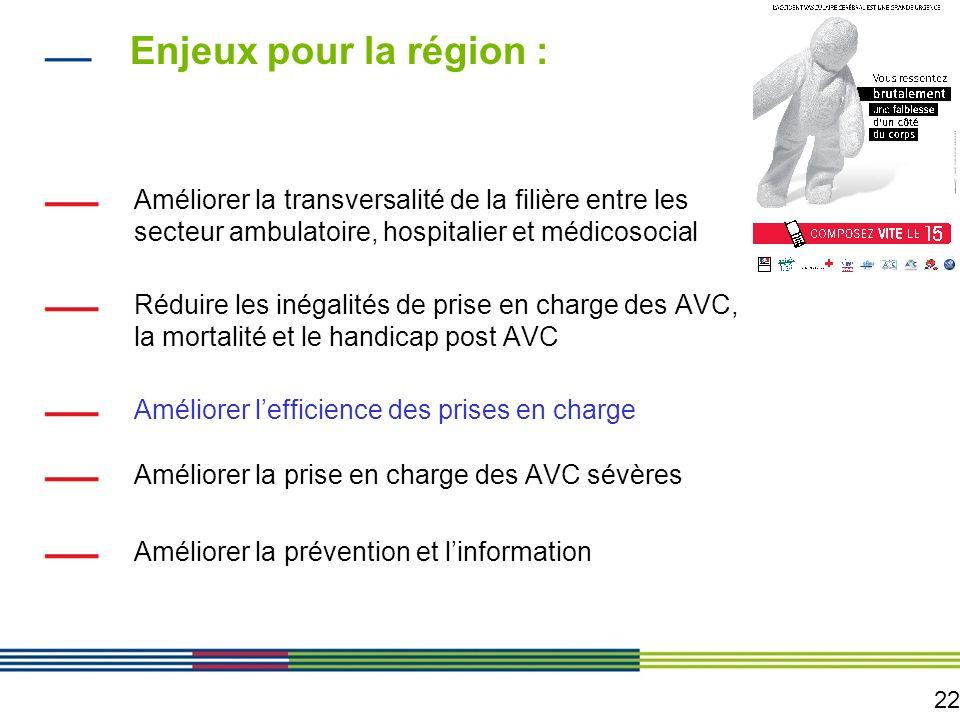 22 Enjeux pour la région : Améliorer la transversalité de la filière entre les secteur ambulatoire, hospitalier et médicosocial Réduire les inégalités