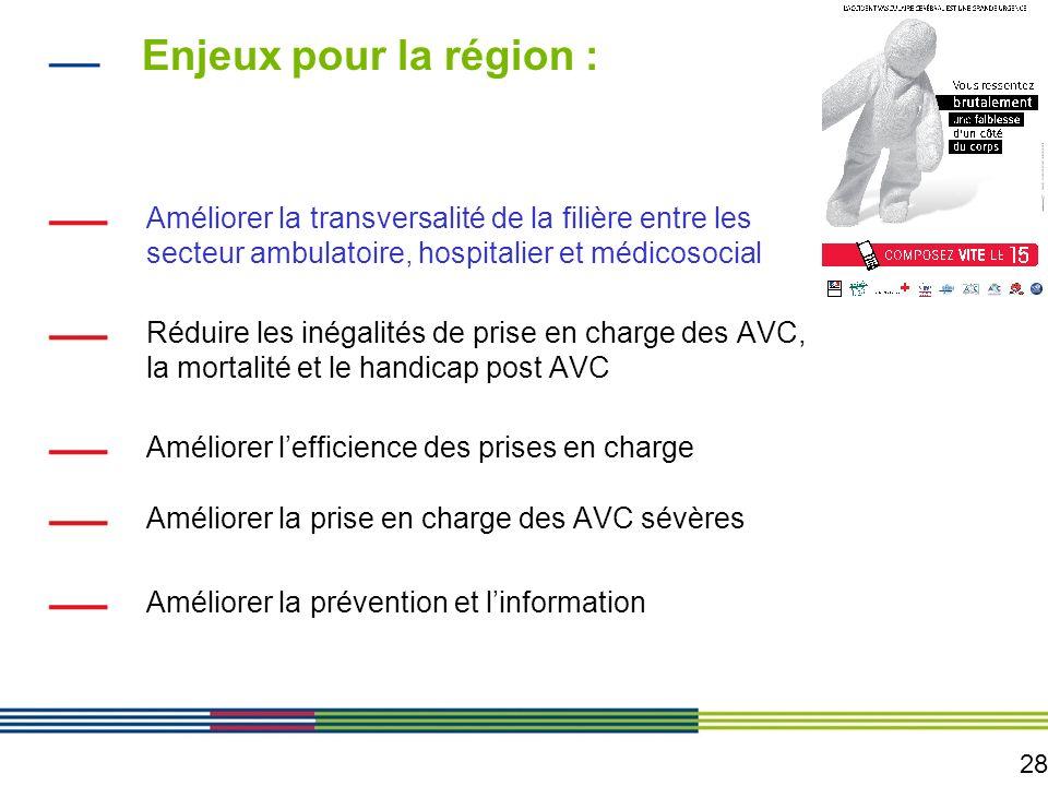 28 Enjeux pour la région : Améliorer la transversalité de la filière entre les secteur ambulatoire, hospitalier et médicosocial Réduire les inégalités