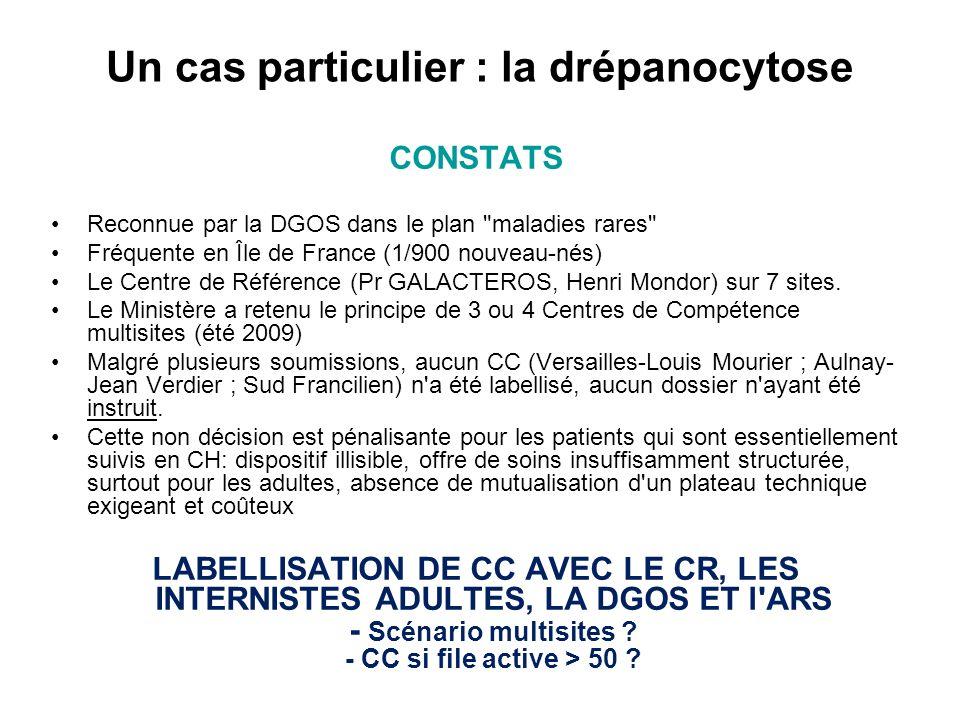 Un cas particulier : la drépanocytose CONSTATS Reconnue par la DGOS dans le plan