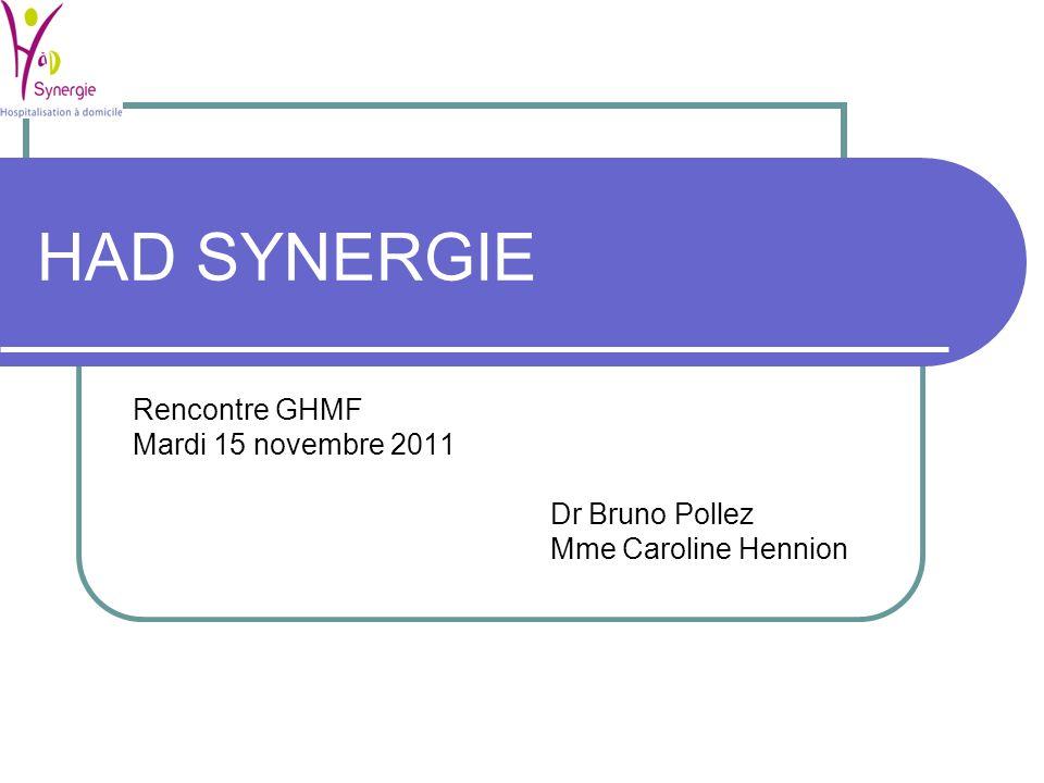 HAD SYNERGIE Rencontre GHMF Mardi 15 novembre 2011 Dr Bruno Pollez Mme Caroline Hennion