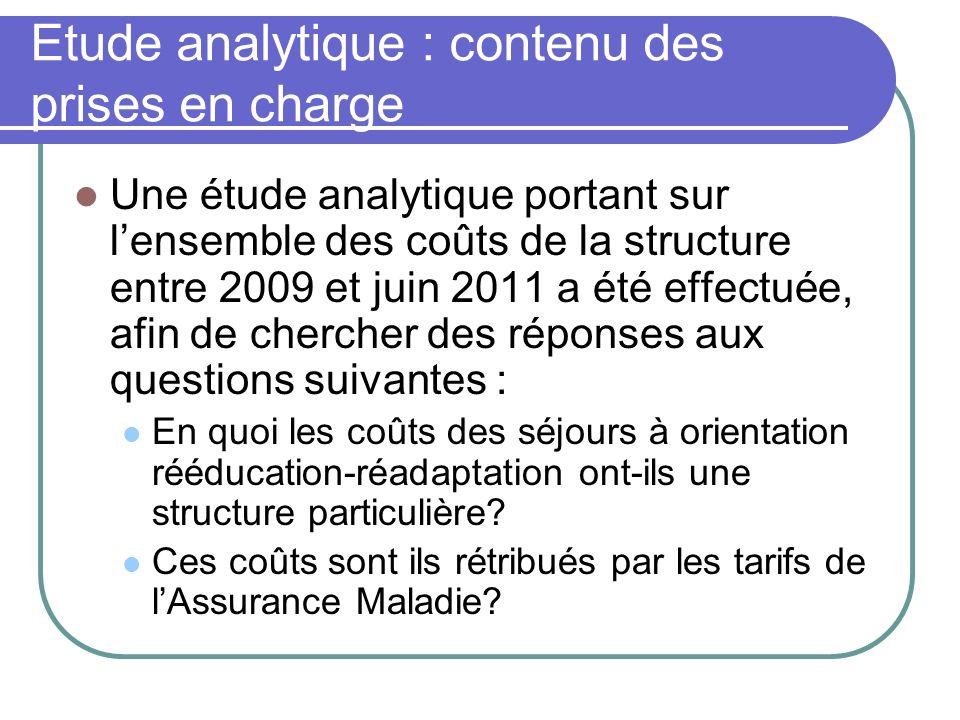 Etude analytique : contenu des prises en charge Une étude analytique portant sur lensemble des coûts de la structure entre 2009 et juin 2011 a été eff