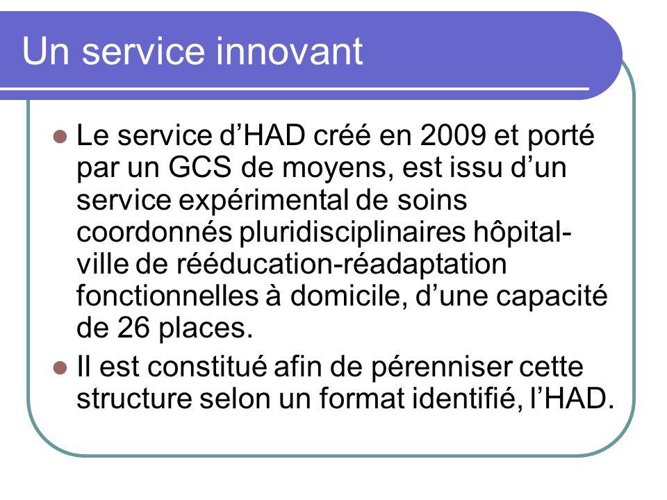Un service innovant Le service dHAD créé en 2009 et porté par un GCS de moyens, est issu dun service expérimental de soins coordonnés pluridisciplinai