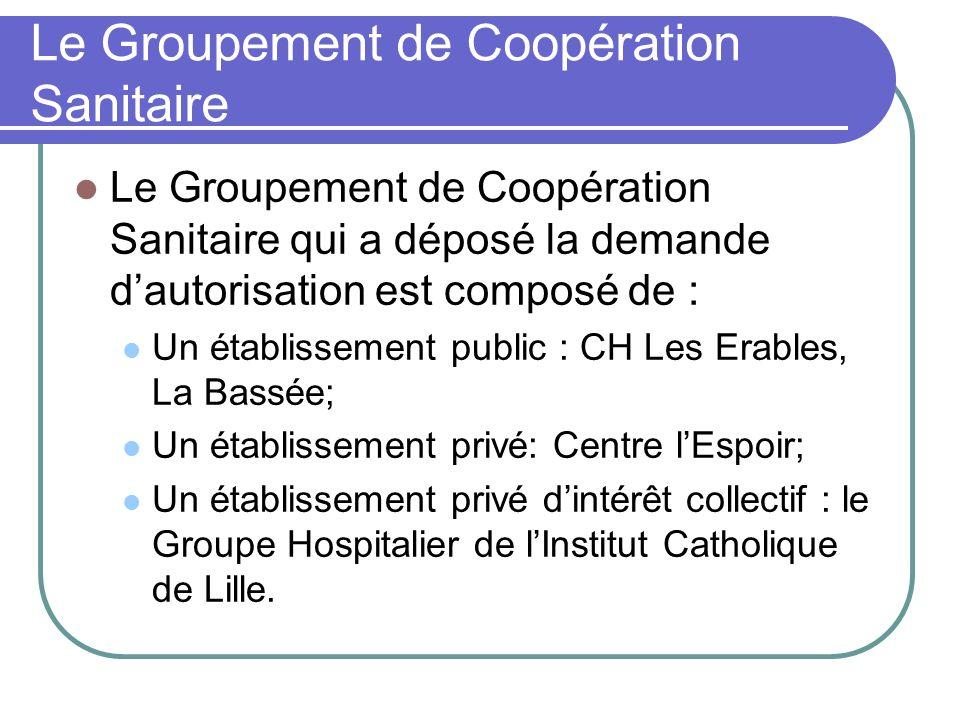 Le Groupement de Coopération Sanitaire Le Groupement de Coopération Sanitaire qui a déposé la demande dautorisation est composé de : Un établissement