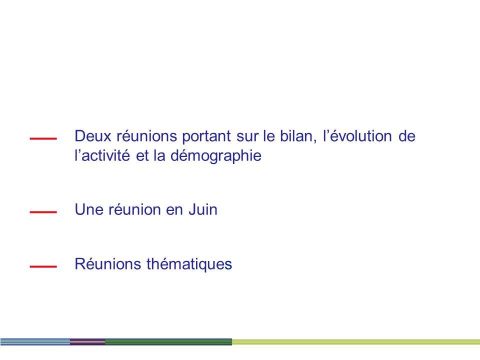 Deux réunions portant sur le bilan, lévolution de lactivité et la démographie Une réunion en Juin Réunions thématiques