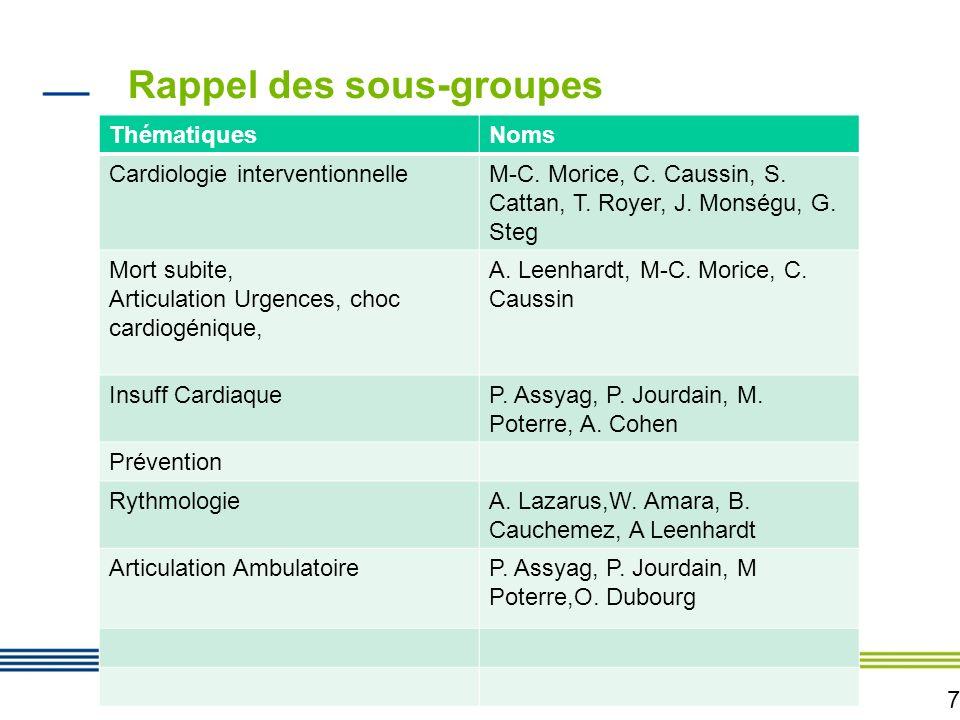 7 Rappel des sous-groupes ThématiquesNoms Cardiologie interventionnelleM-C. Morice, C. Caussin, S. Cattan, T. Royer, J. Monségu, G. Steg Mort subite,