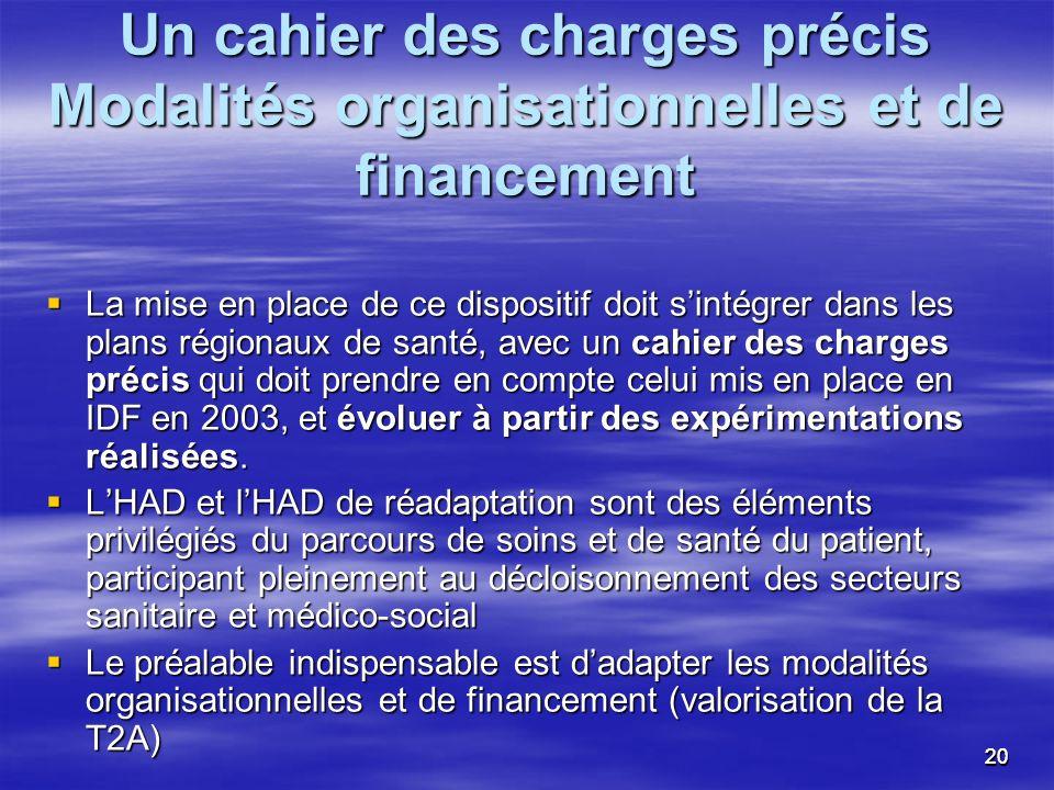 2020 Un cahier des charges précis Modalités organisationnelles et de financement La mise en place de ce dispositif doit sintégrer dans les plans régio