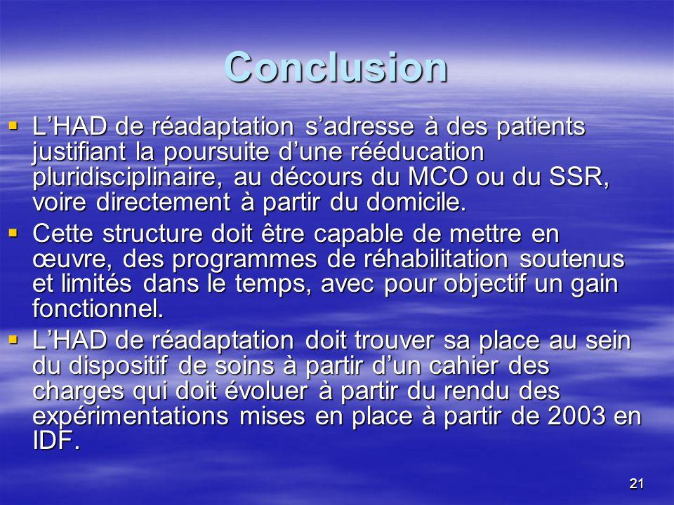 2121 Conclusion LHAD de réadaptation sadresse à des patients justifiant la poursuite dune rééducation pluridisciplinaire, au décours du MCO ou du SSR,