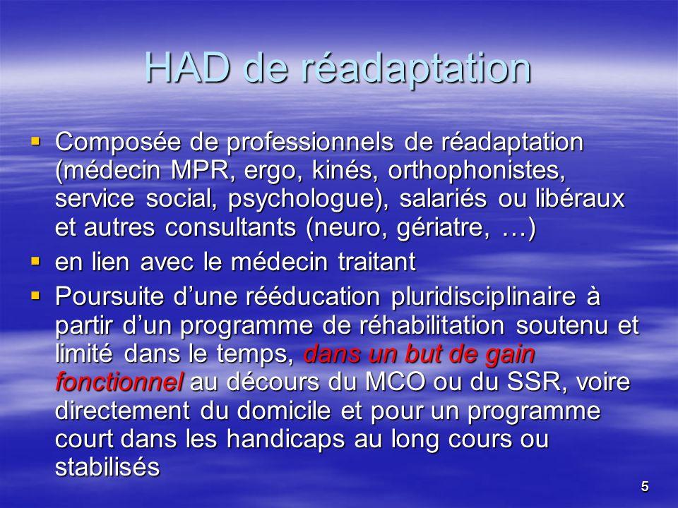 55 HAD de réadaptation Composée de professionnels de réadaptation (médecin MPR, ergo, kinés, orthophonistes, service social, psychologue), salariés ou
