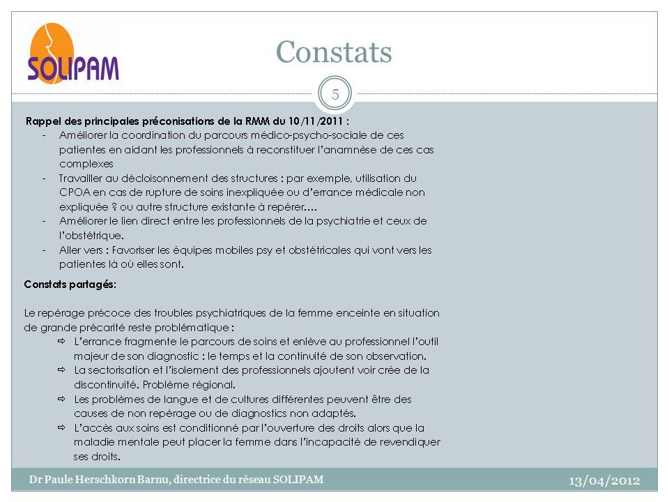 Constats 13/04/2012 Dr Paule Herschkorn Barnu, directrice du réseau SOLIPAM 5