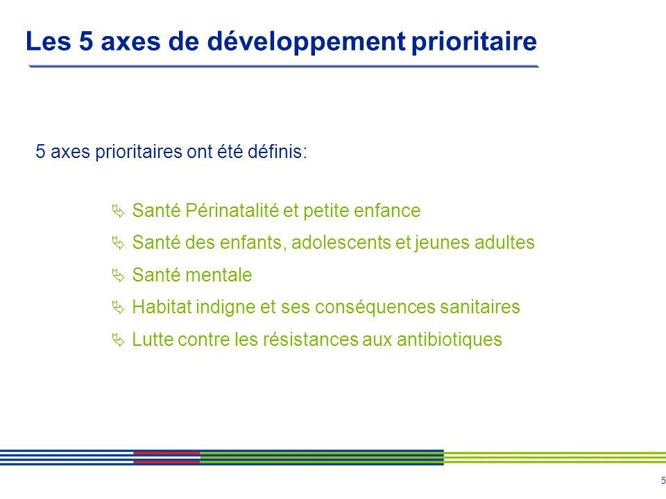5 Les 5 axes de développement prioritaire 5 axes prioritaires ont été définis: Santé Périnatalité et petite enfance Santé des enfants, adolescents et jeunes adultes Santé mentale Habitat indigne et ses conséquences sanitaires Lutte contre les résistances aux antibiotiques