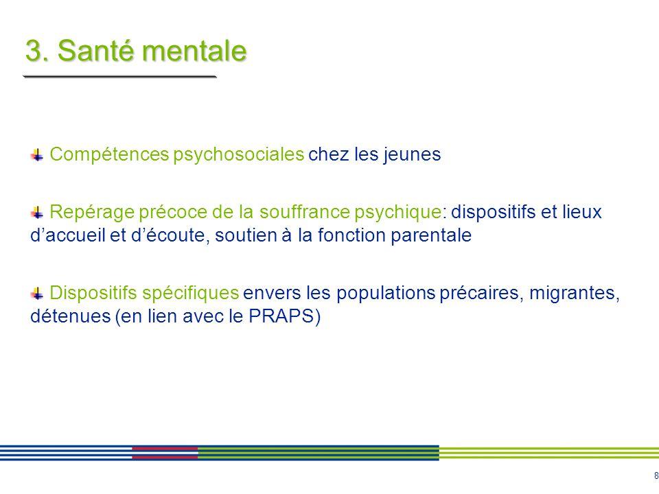 8 3. Santé mentale Compétences psychosociales chez les jeunes Repérage précoce de la souffrance psychique: dispositifs et lieux daccueil et découte, s