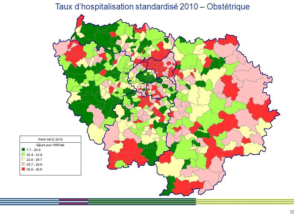12 Taux dhospitalisation standardisé 2010 – Obstétrique