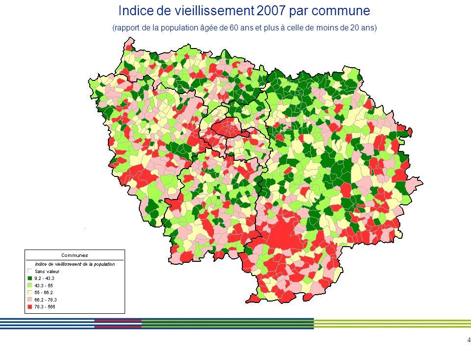 4 Indice de vieillissement 2007 par commune (rapport de la population âgée de 60 ans et plus à celle de moins de 20 ans)
