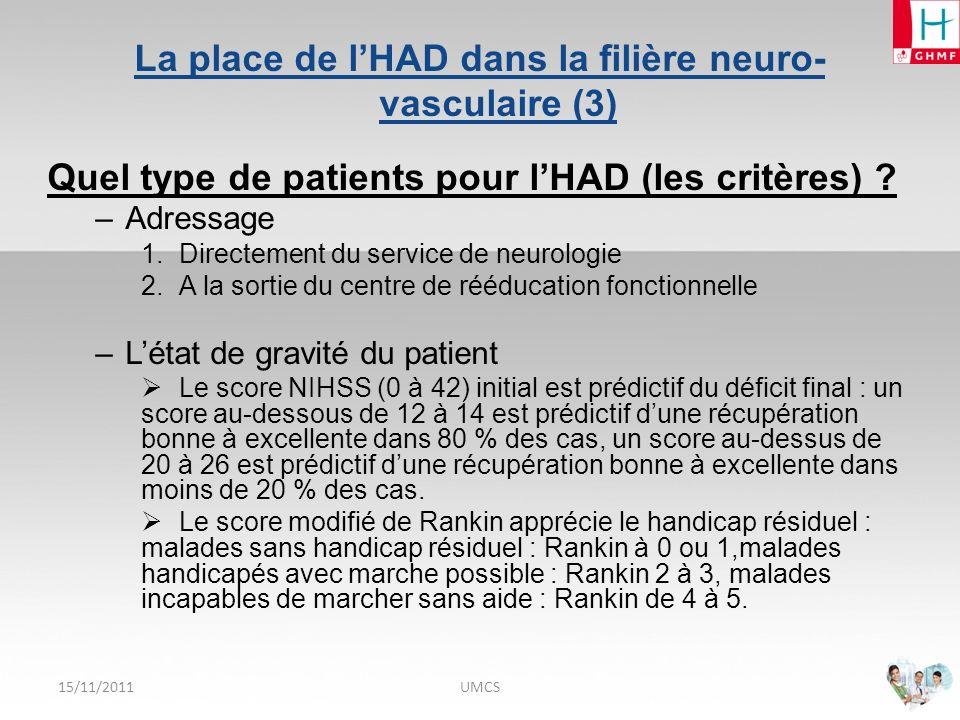 15/11/2011UMCS La place de lHAD dans la filière neuro-vasculaire (4) Quel type de patients pour lHAD (les critères) .