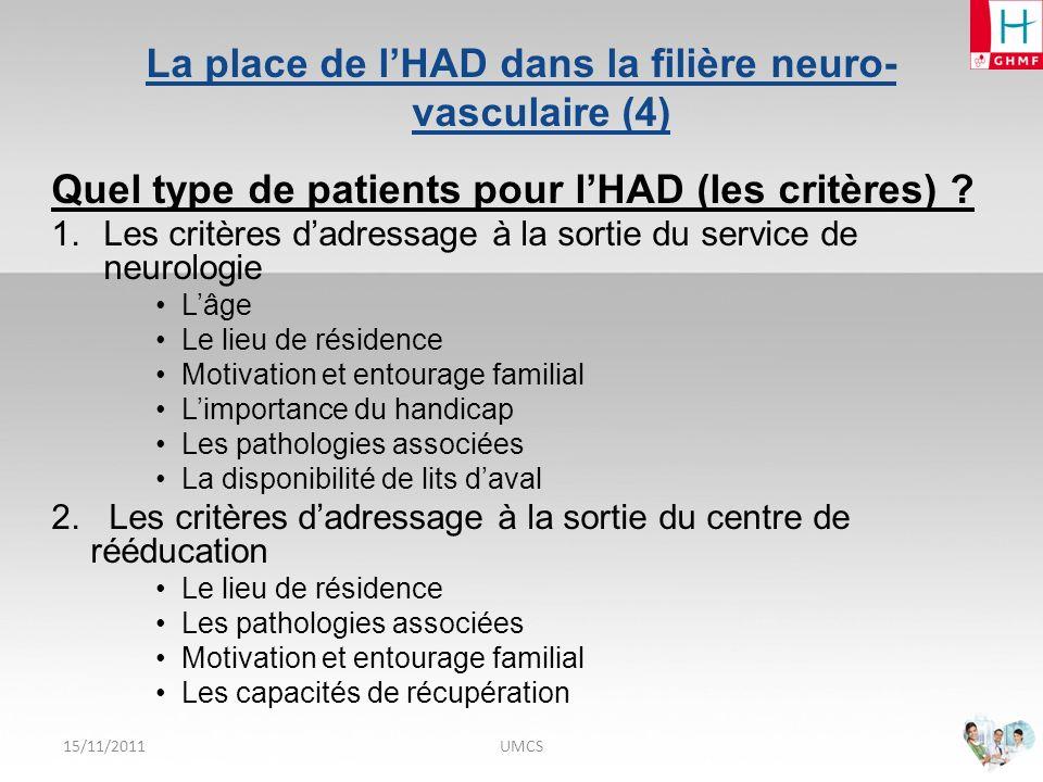 15/11/2011UMCS La place de lHAD dans la filière neuro- vasculaire (5) Modalités de prise en charge des patients par lHAD .
