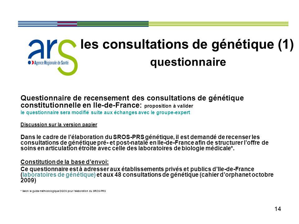 14 Questionnaire de recensement des consultations de génétique constitutionnelle en Ile-de-France: proposition à valider le questionnaire sera modifié