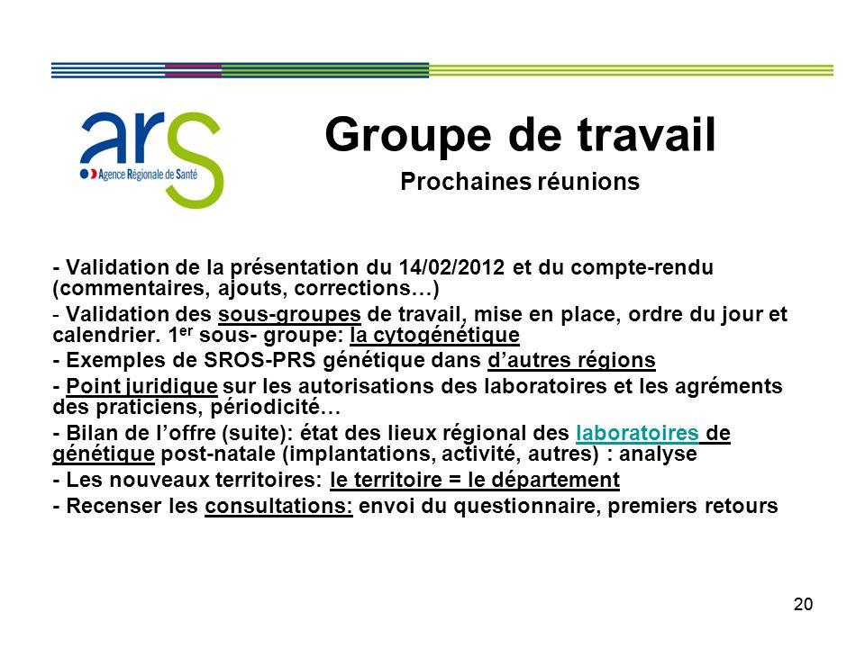 20 - Validation de la présentation du 14/02/2012 et du compte-rendu (commentaires, ajouts, corrections…) - Validation des sous-groupes de travail, mis