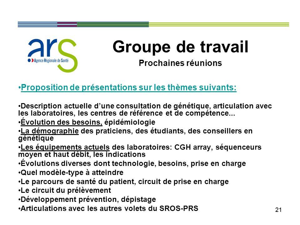 21 Proposition de présentations sur les thèmes suivants: Description actuelle dune consultation de génétique, articulation avec les laboratoires, les